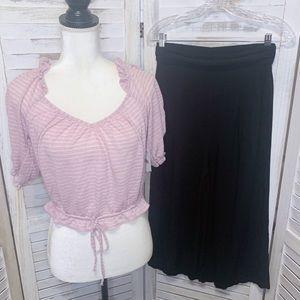 Free People High Rise Rayon Culotte Pants Black XS